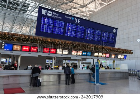 Departure board with destination airports in Frankfurt Main, Germany - stock photo