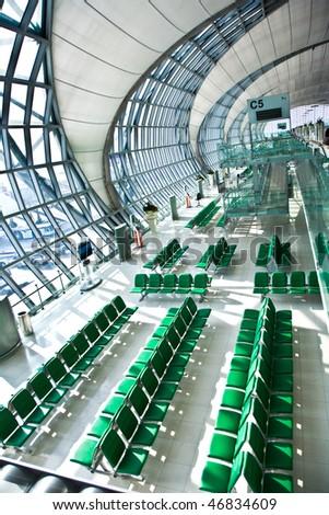 departure Gate and hall in the new Airport Suvarnabhumi in Bangkok - stock photo