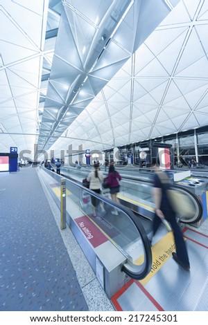 Departure hall of Hong Kong International airport - stock photo