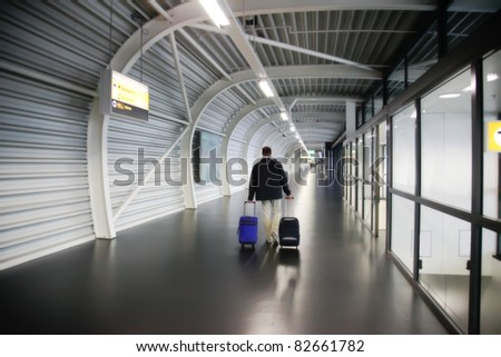 departure in airport - stock photo