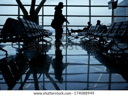 Departure lounge of an international airport - stock photo