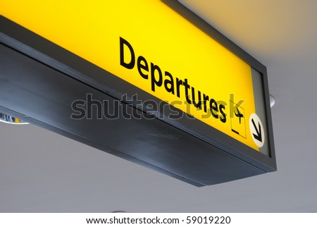 Departure sign at an airport. - stock photo