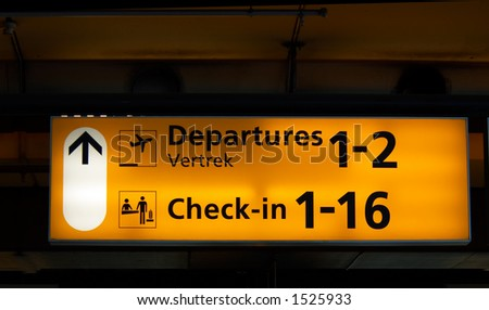 Departure sign at the airport - stock photo