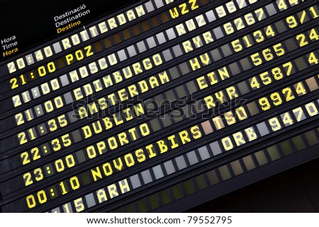 Departure timetable at the airport close-up - stock photo