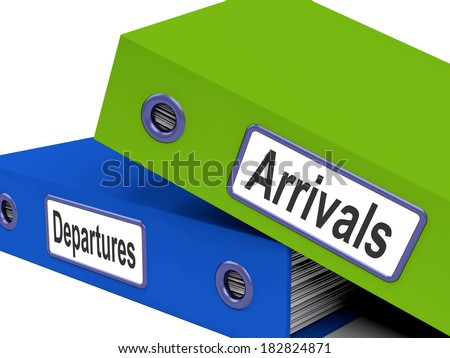 Departures Arrivals Folders Showing Holidays And Travelling
