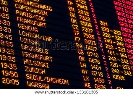 Departures board - stock photo