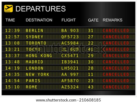 Departures board. Cancelled flights
