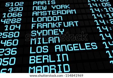 Departures display board at airport terminal showing international travel destinations flights to some of the world's most popular cities. Business or leisure travel concept, 3d rendering. - stock photo