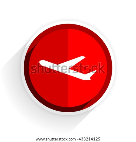 departures icon, red circle flat design internet button, web and mobile app illustration