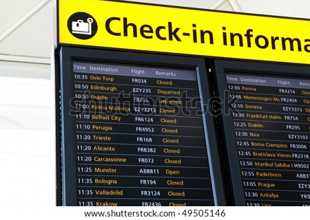 Departures information on the airport - stock photo