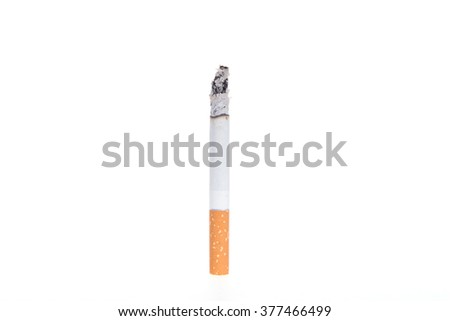 Dependence on tobacco smoking, cigarette on a white background, - stock photo