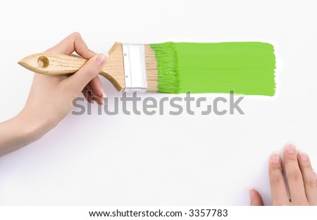 Depicting green paint -place on your text. - stock photo