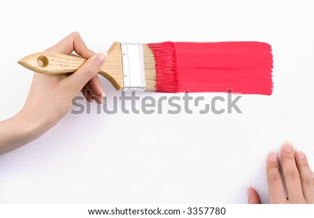 Depicting red paint -place on your text. - stock photo
