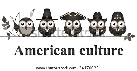 Depiction of American culture through history isolated on white background - stock photo