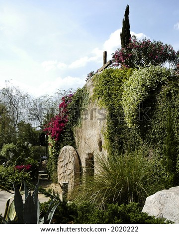 Depiction of the Garden Tomb where Jesus was laid after He was crucified. - stock photo