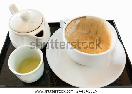 Depleted hot milk art coffee and tea , shallow DOF - stock photo