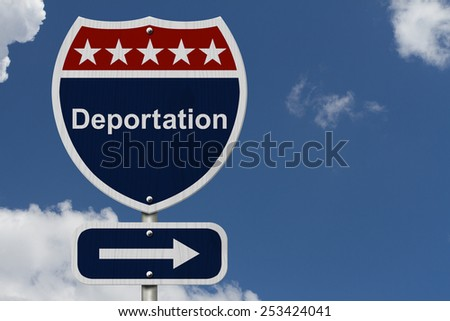 Deportation this way sign, Blue, Red and White highway sign with words Deportation with sky background - stock photo