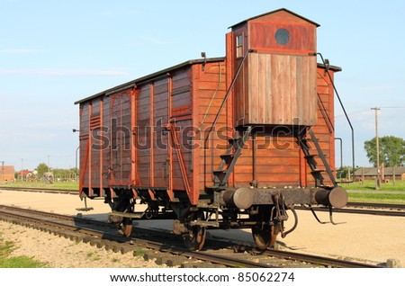 Deportation wagon at Auschwitz Birkenau concentration camp, Poland - stock photo