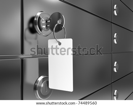 Deposit box with key and blank label - stock photo