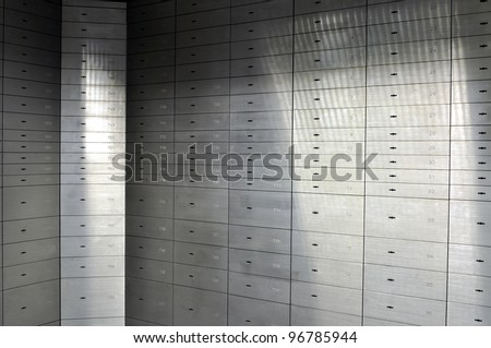 Deposit boxes in a bank vault - stock photo