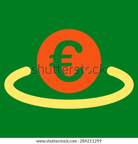 Deposit from BiColor Euro Banking Icon Set. Glyph style: flat bicolor, orange and yellow symbol, rounded angles, green background.