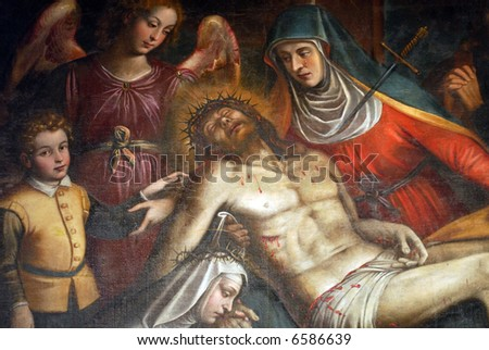 Deposition by Caravaggio, detail of the painting in Santa Maria delle Grazie, Milan, Italy - stock photo