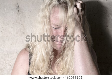 depress woman person with concrete background