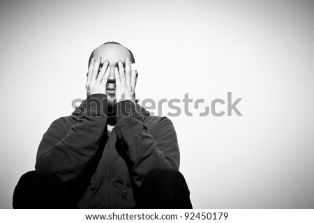 depressed adult man - stock photo