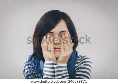 Depressed and sad woman - stock photo