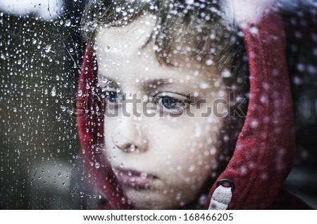 Depressed boy - stock photo