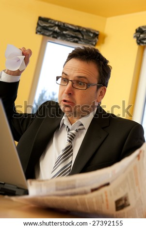 Depressed businessman - problems - stock photo