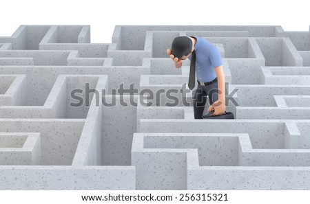 Depressed businessman standing in the middle of a maze. 3d illustration. Isolated. Contains clipping path - stock photo