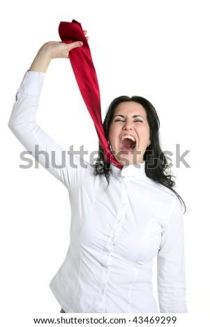 Depressed businesswoman strangle suicide with self tie - stock photo