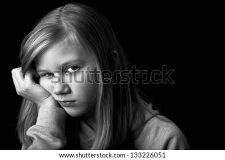 Depressed child - stock photo