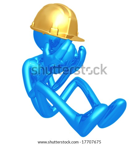 Depressed Construction Worker - stock photo