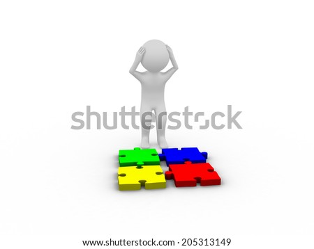 Depressed 3D man with puzzle pieces on white background - stock photo