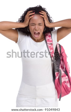 depressed ethnic African-American black young woman with backpack holding head - stock photo