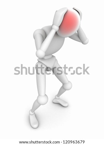 depressed human character person headache. Stress concept - stock photo