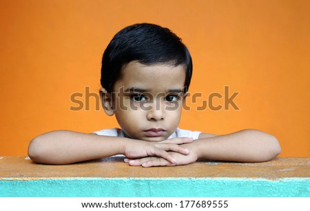 Depressed Indian Little Boy - stock photo