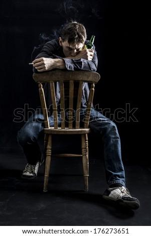 Depressed man - stock photo