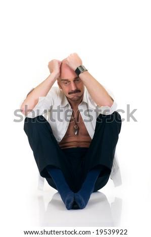 Depressed middle aged man, studio shot, white background - stock photo