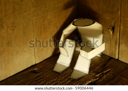 depressed paper person - stock photo