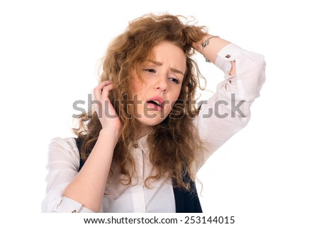 Depressed sad girl looking to the side. Problems in the business. Isolated on a white background - stock photo