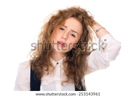 Depressed sad girl. Problems in the business. Isolated on a white background - stock photo