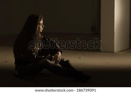 Depressed teenage girl. - stock photo
