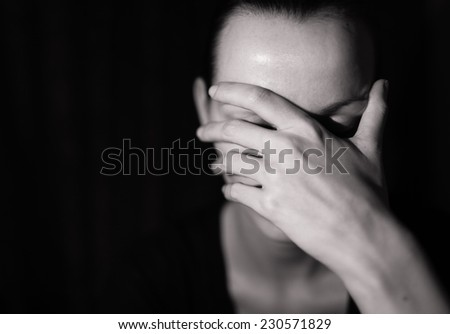 Depressed woman - stock photo