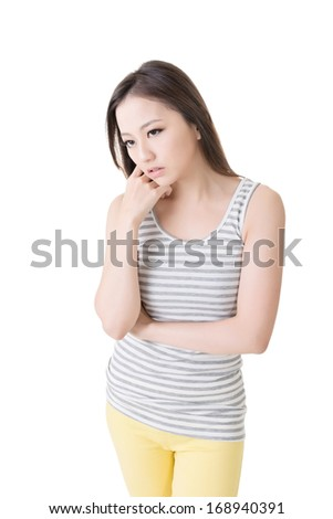 Depressed young asian woman. Isolated on white background. - stock photo
