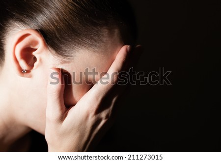 Depressed young woman. - stock photo