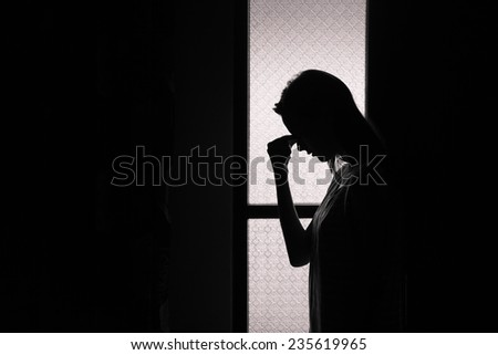 Depressed young woman  - stock photo