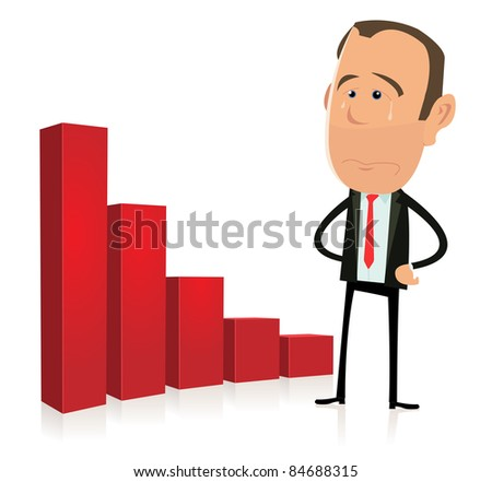 Depression - Bar Graph Results/ Illustration of a sad business trader in recession and crisis time